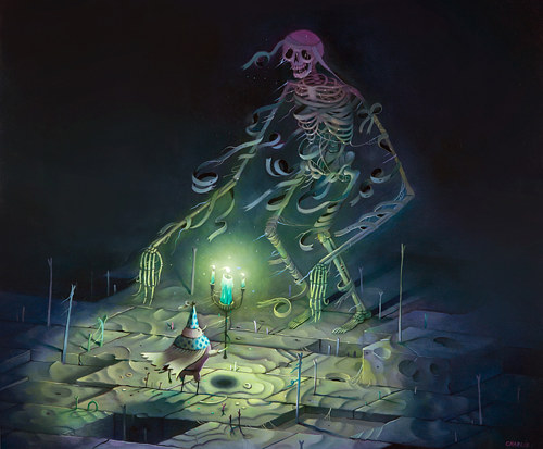 A painting of a large skeleton in a darkened space