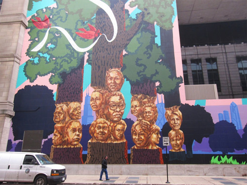 A photo of Kerry James Marshall's Rushmore mural