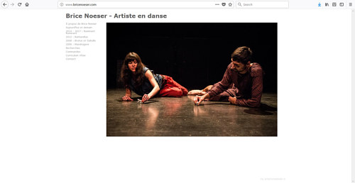 The front page of Brice Noeser's dance website