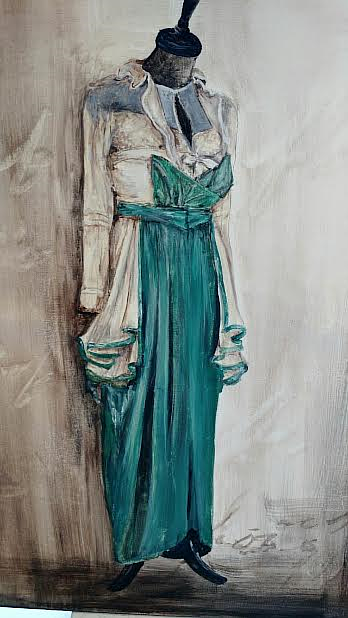 A painting of an Edwardian teal dress