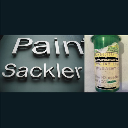 A collaged image of two works by Nan Goldin, Pain/Sackler and Oxy Script