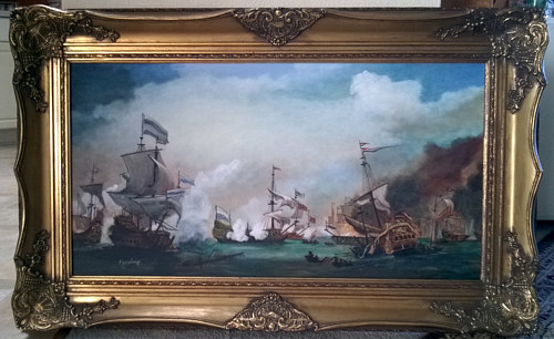 An oil painting of a battle at sea