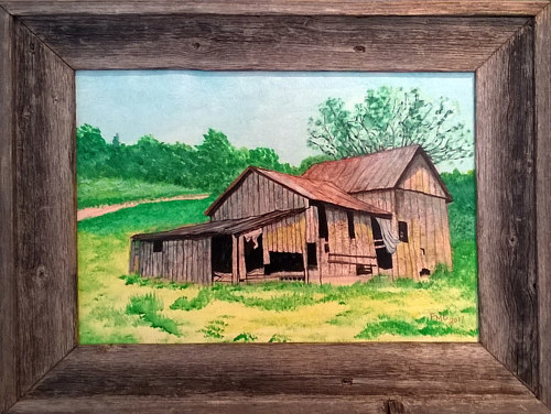 A painting of a barn framed with barn wood