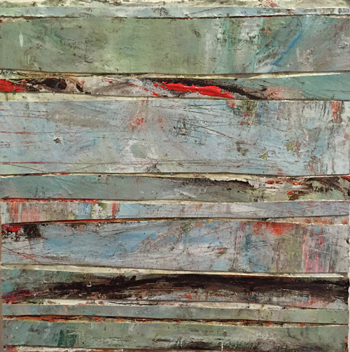 A painting of greenish stripes of color with an interesting texture