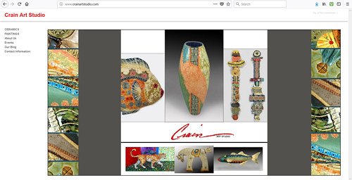 The front page of Crain Art Studio's website