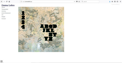 The front page of Emma Lehto's art website