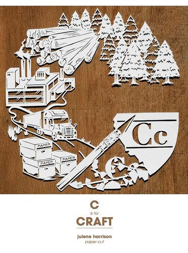 Paper cutouts that says C is for craft