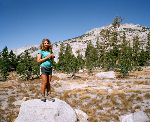 A photograph of a woman in Yosemite Park