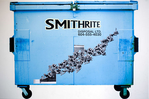An image of a Smithrite dumpster with collaged images overtop