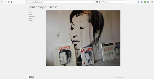 The front page of Ronan Boyle's art website