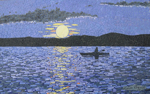 A mosaic artwork of a canoe on moonlit water