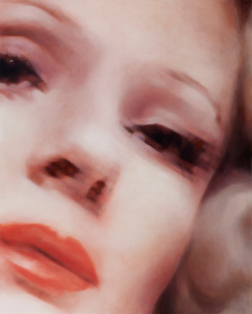 A painting of a close-up frame of a woman's face