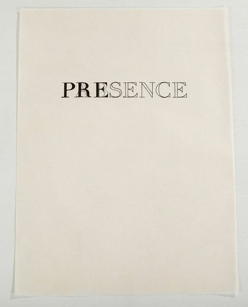 A text art piece combining the words Presence and Absence