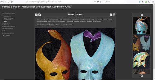 A screen capture of Pamela Schuller's art website
