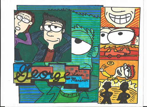 A hand-drawn comic strip featuring images of the charcter George