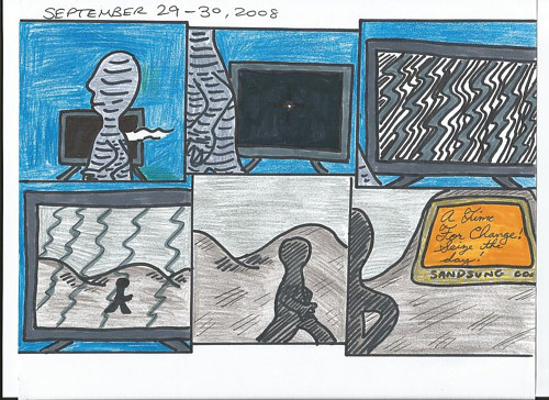 A hand-drawn surreal comic strip