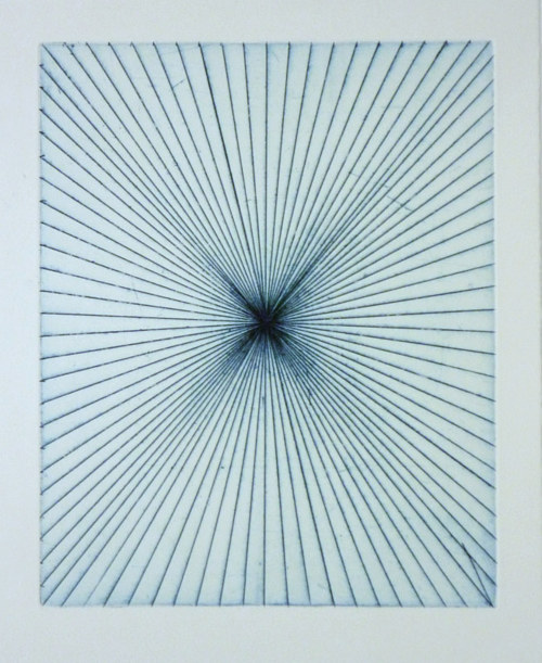 An etching of radiating blue lines