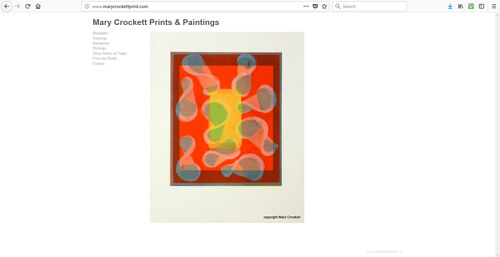 The front page of Mary Crockett's art website