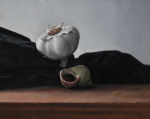 A painting of a garlic clove and a seashell