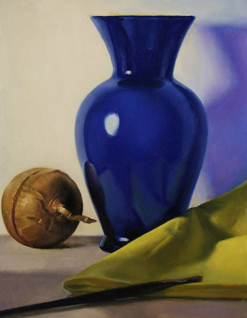 A still-life painting of a glass vase and an onion