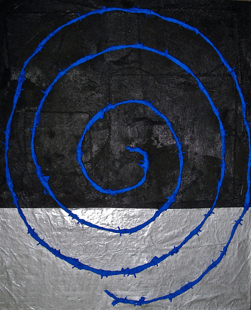 A mixed media artwork featuring an electric blue-colored spiral