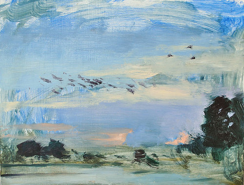 Painting of birds, clouds and open field with house