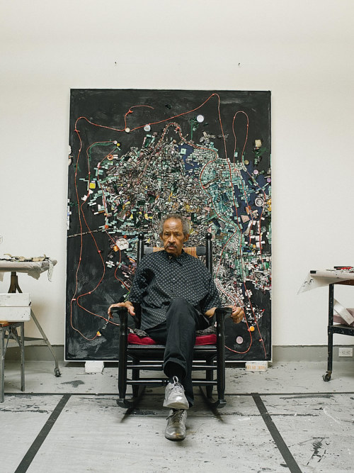 A photograph of Jack Whitten in his studio in 2017