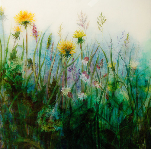 An oil painting of some flowers in a field