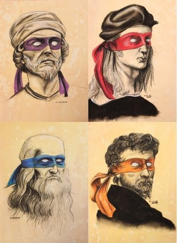 Famous artists painted in the style of Teenage Mutant Ninja turtles