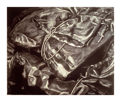 A charcoal drawing of something bundled with string