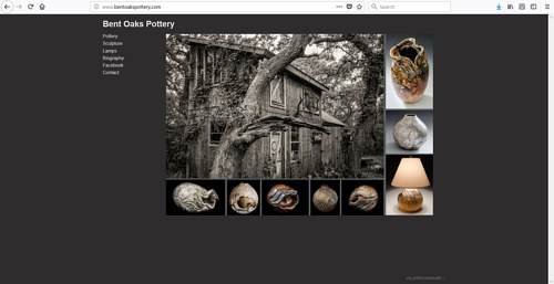 The front page of the Bent Oaks Pottery website