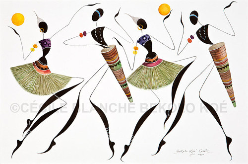 An artwork depicting four figures dancing