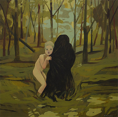Painting of naked woman in forrest with dark figure