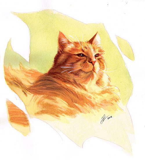 A watercolor painting of an orange cat