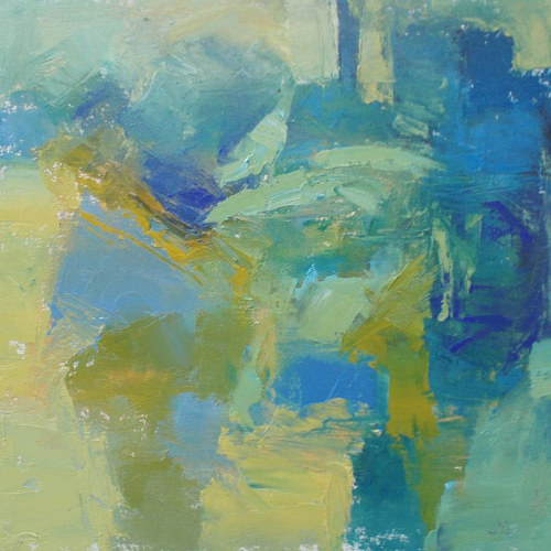 A painting with contrasting blue and yellow tones