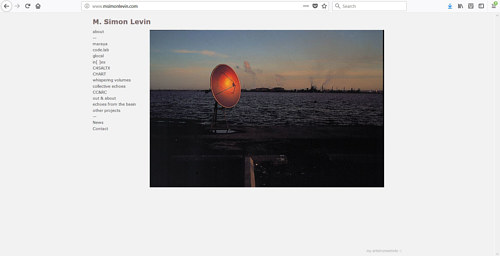 A screen capture of M. Simon Levin's art website