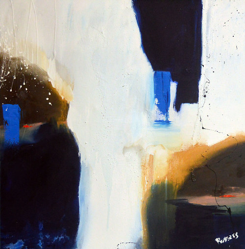 An abstract oil painting with blue and white hues
