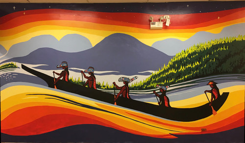 A photo of an acrylic wall mural depicting an aboriginal canoe