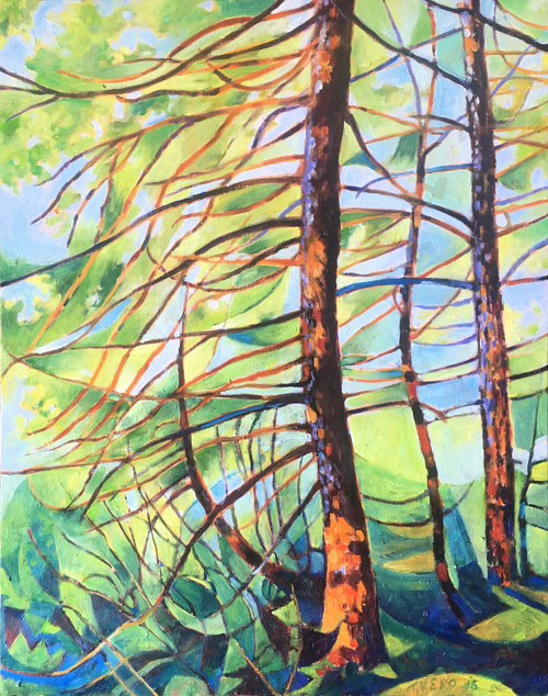 An artwork depicting a forest in the wind