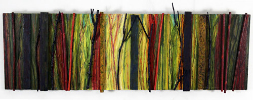 A mixed media artwork depicting a slice of forest