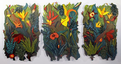 A triptych artwork featuring textured plant life and paint