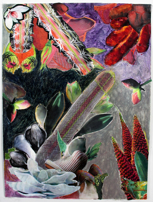 A mixed media collage with plant forms and dark colors