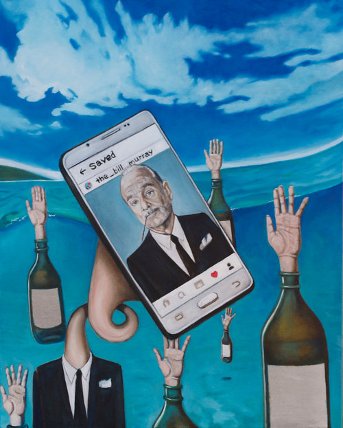 A painting of a smartphone with Bill Murray's face on it