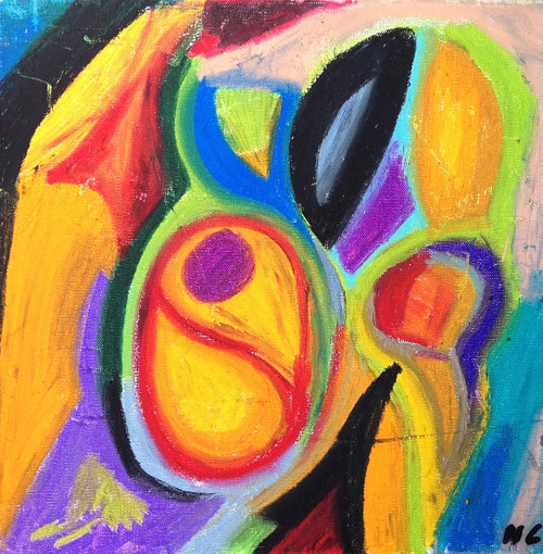 A pastel drawing with vibrant colors