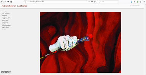 A screen capture of Nathalie Gribinski's art website