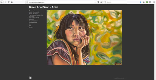 The front page of Grace Ann Piano's art website