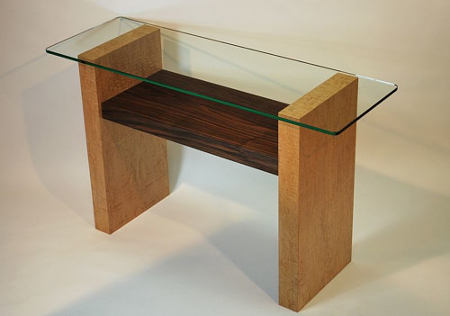 A console table made from maple and walnut woods