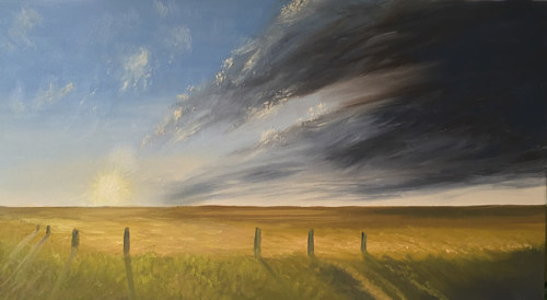 A painting of a field in clouds and sunlight
