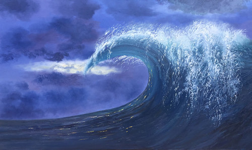 An oil painting of a cresting wave