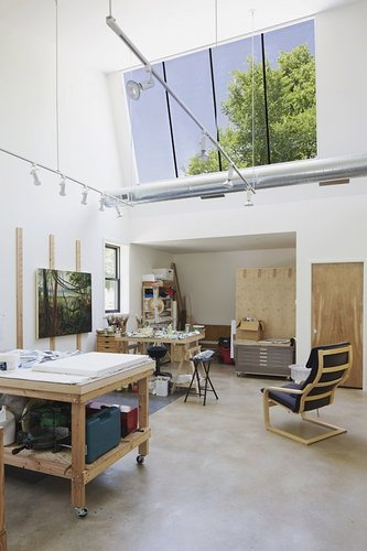 Beautiful art studio with a large skylight